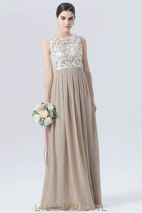 Long Pleated Chiffon Formal Bridesmaid Dress With Lace Bodice