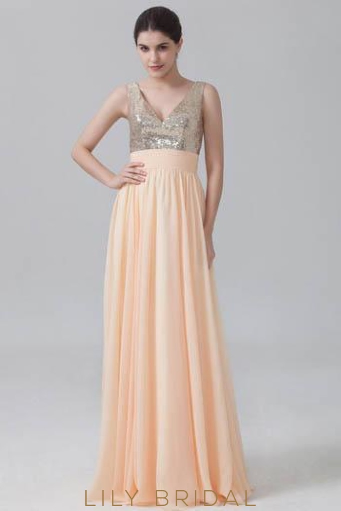 Long Pleated Chiffon Bridesmaid Dress With V-Neck Sequin Bodice