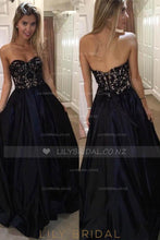 Long Princess Sweetheart Strapless Satin Evening Dress With Floral Lace Top