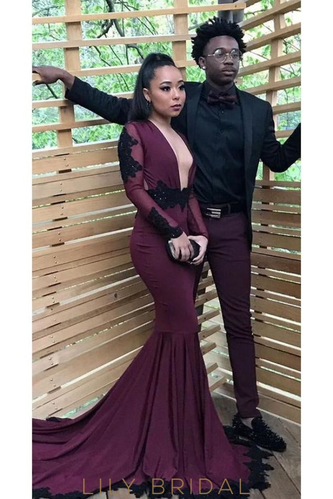 e639f06a579 Long Sleeve Plunging V-Neck Grape Mermaid Prom Dress With Black Lace  Applique