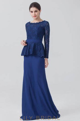 Long Sleeve Scoop Neck Dark Navy Chiffon Lace Evening Dress With Sweep Train