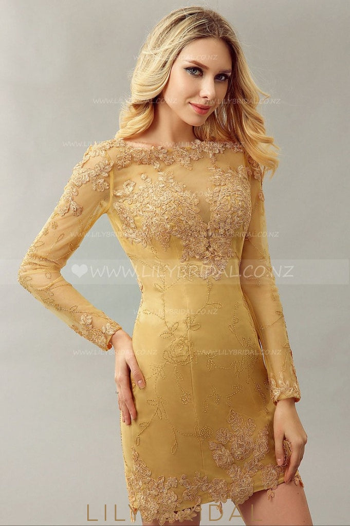 Long Sleeve Sheath Short Mother of the Bride Dress With Lace Applique