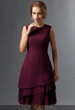 Burgundy Chiffon Knee-Length A-Line Mother of the Bride Dresses