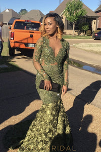 Long Sleeves V-Neckline Green Mermaid Beaded Prom Dress