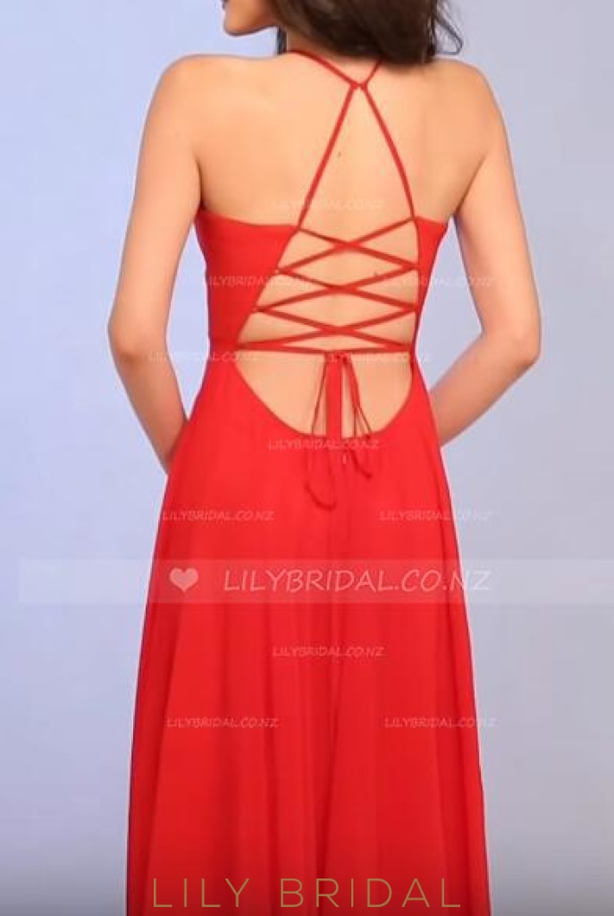 Long Spaghetti Strap Plunging V-Neck Lace-Up Back Chiffon Evening Dress With Slit