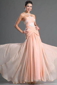 Long Strapless Chiffon Mermaid Evening Dress With Beads