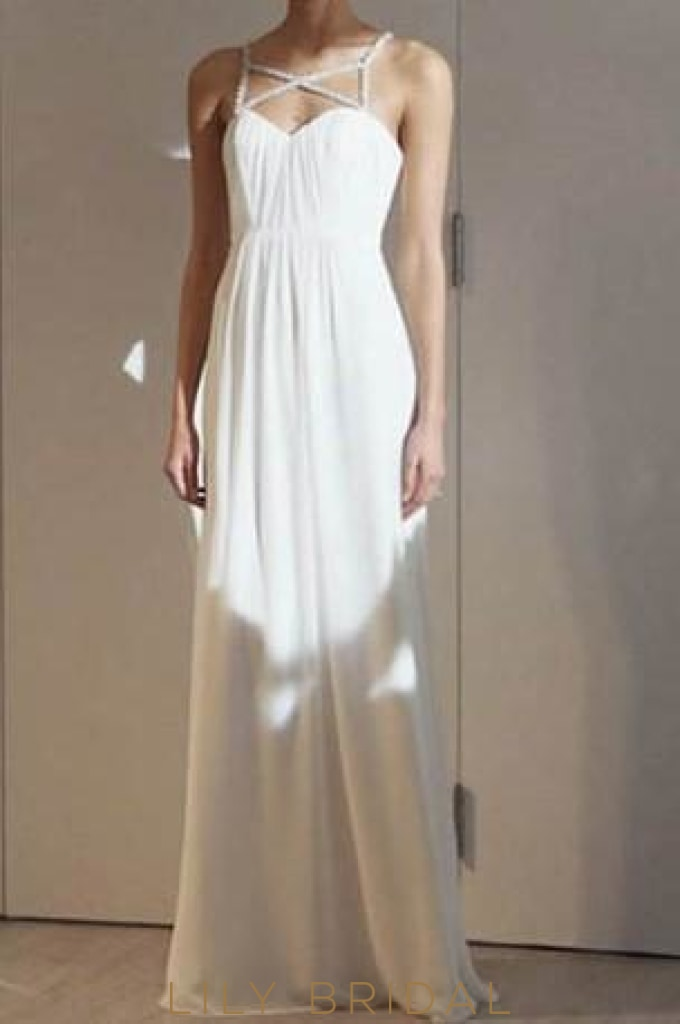 Long Sweetheart Strap Beaded White Chiffon Evening Dress