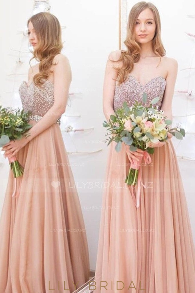Long Sweetheart Strapless Pleated Chiffon Bridesmaid Dress With Beaded Bodice