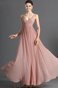 Long V-Neck Strap Chiffon Bridesmaid Dress With Ruched Bodice