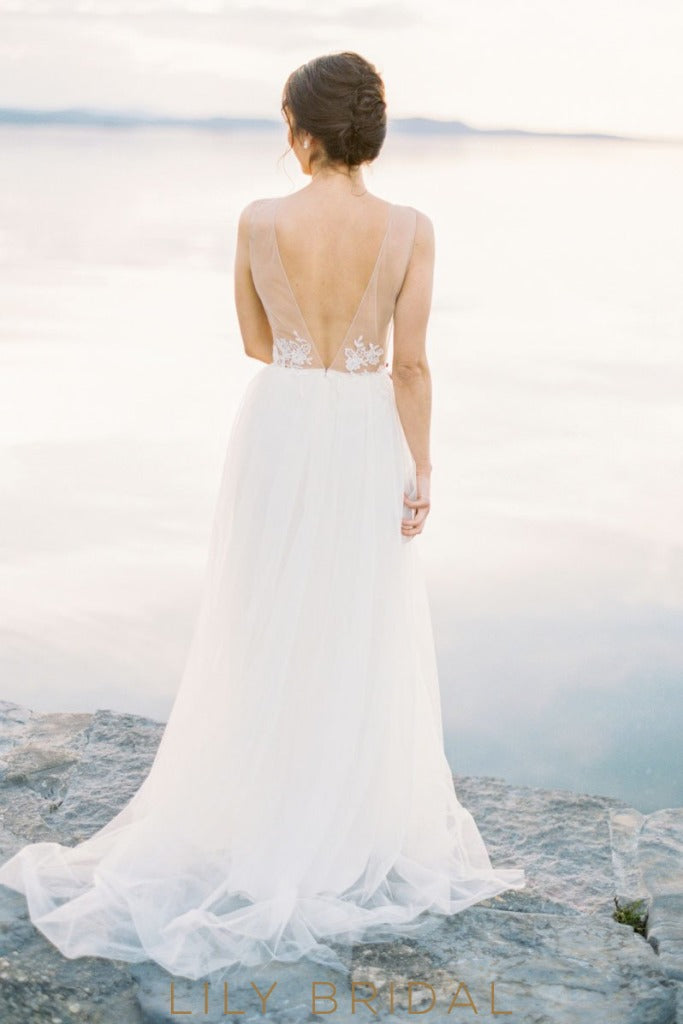 Tulle Long Wedding Dress with Deep V-neckline Sleeveless Illusion V-Back