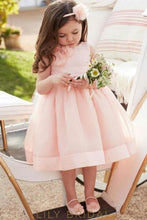 Dusty Rose Knee-Length Ball Gown Organza Flower Girl Dress With Corsage