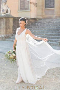 Low V-Neck Appliqued Ivory Tulle Bridal Dress With Panel Train