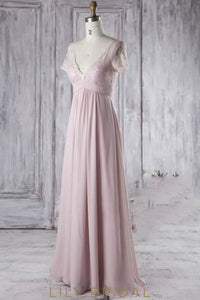 Low V-Neck Cap Sleeve Chiffon Bridesmaid Dress With Lace Bodice