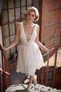 Low V-Neck Chiffon Short Wedding Dress With Layers
