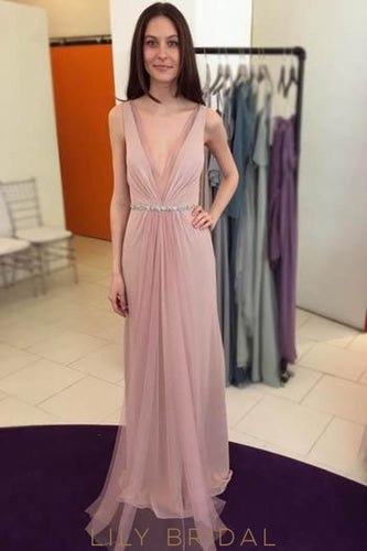 Low V-Neck Floor-Length Chiffon Evening Dress With Crystal