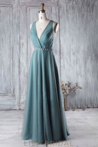 Low V-Neck Floor-Length Bridesmaid Dress With Belt