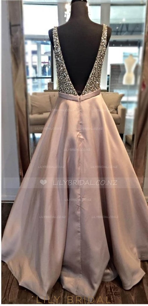 Low V-Neck Open Back Long Prom Dress With Beaded Bodice