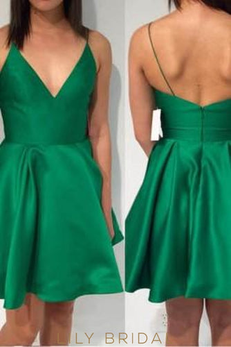 Low V-Neck Spaghetti Strap Hunter Green Satin Cocktail Dress