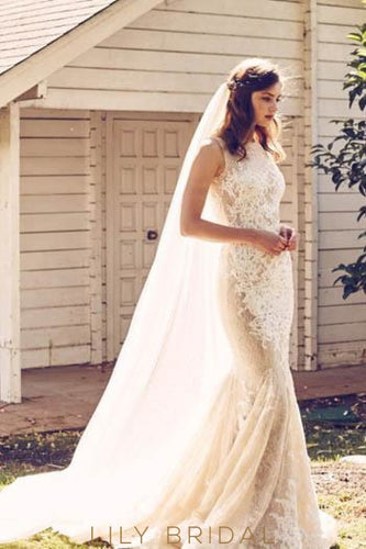 Luxurious Champagne Lace Jewel Neck Court Train Mermaid Wedding Dress