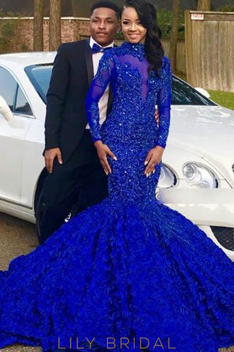Beading Illusion High Neck Long Sleeves Mermaid Prom Dress With Chapel Train