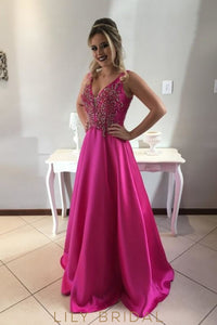 Luxury Beading Rhinestone Plunge Neck Sleeveless Zipper-Up Long Satin Prom Dress