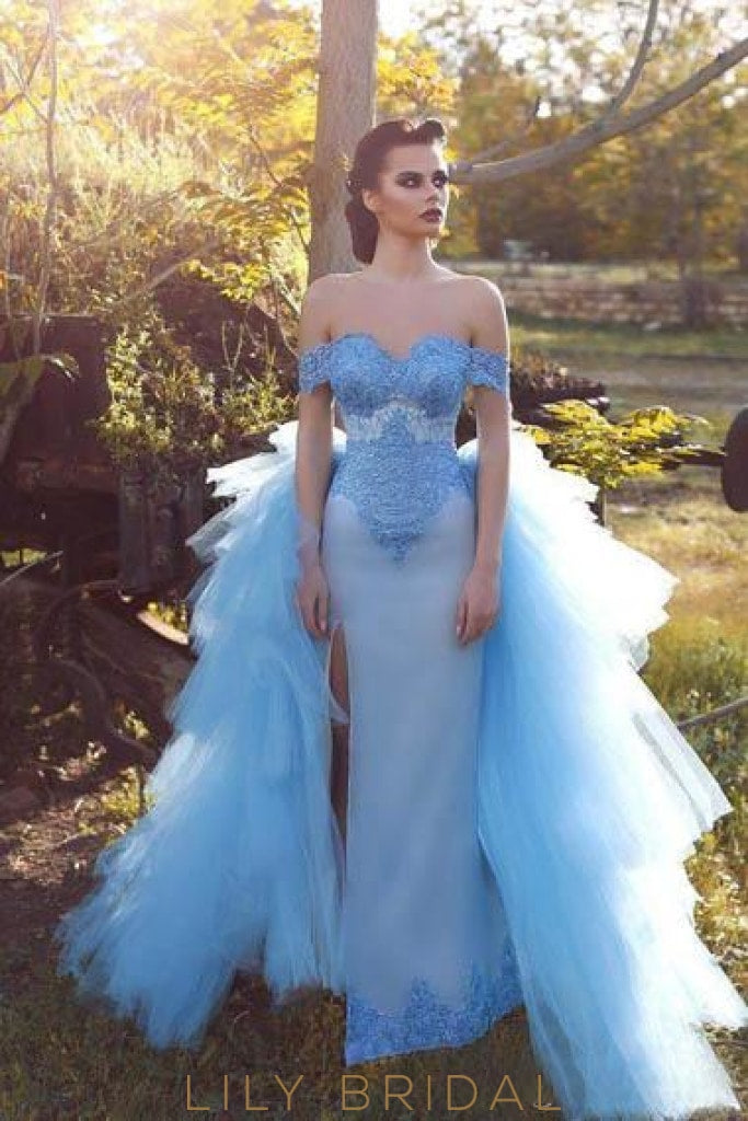 Luxury Lace Off Shoulder Lace Up Floor-Length Split Sheath Prom Dress with Overskirt