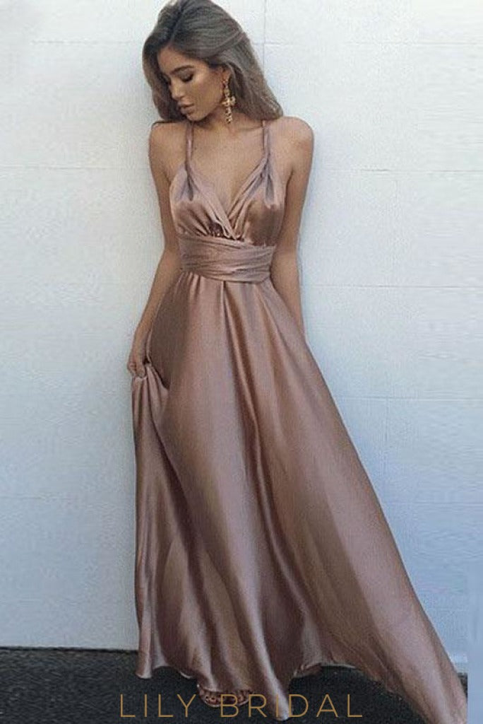 Wisteria Satin Strap A-Line Floor-Length Sexy Prom Dress