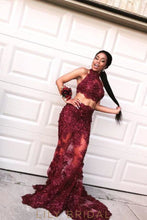 Burgundy High Neck Sleeveless Two-Piece Appliqued Sheer Organza Prom Dress
