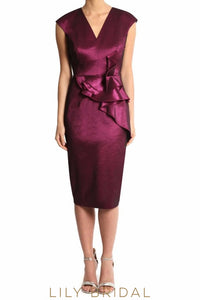 Burgundy V-Neck Sleeveless Sheath Knee-Length Satin Mother of the Bride Dress With Ruffles