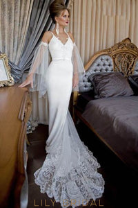 Mermaid Backless Beaded Lace Satin Wedding Dress With Detachable Tulle Flutter Sleeve