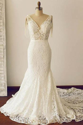 Mermaid Backless V-Neck Court Train Lace Illusion Bridal Dress With Ribbon