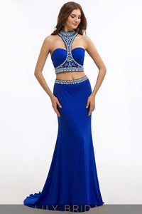 Mermaid Elastic Woven Satin Sleeveless High Neck Two-Piece Prom Dress