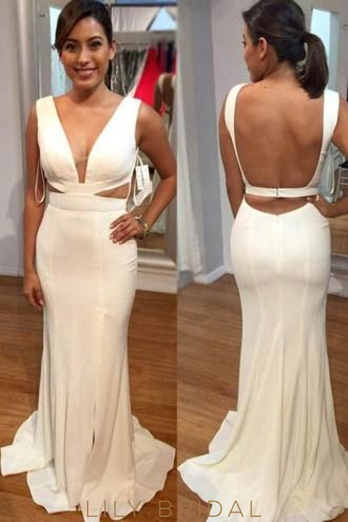 Mermaid Deep V-Neck Open Back Side Cut out Evening Dress