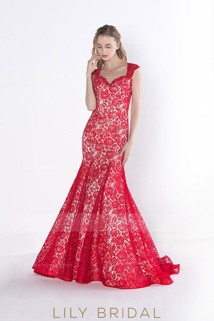 Red Sweetheart Open Back Sweep Train Lace Prom Dress