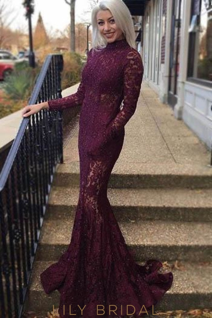 Mermaid High Neck Long Sleeve Sequinned Illusion Lace Evening Dress With Pockets