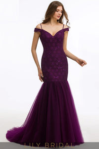 Mermaid Off-The-Shoulder Strap Sequinned Prom Dress With Sweep Train