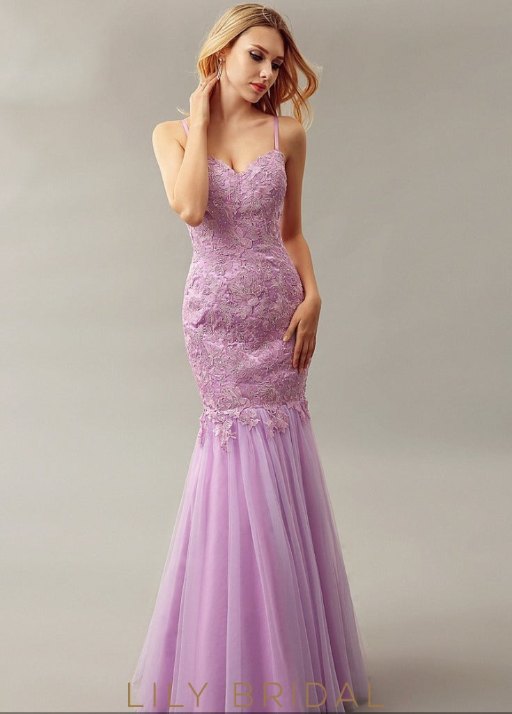 Mermaid Tulle Sweetheart Dropped Waist Floor-Length Prom Dress