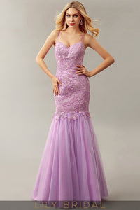 Mermaid Lace Tulle Sweetheart Dropped Waist Floor-Length Prom Dress