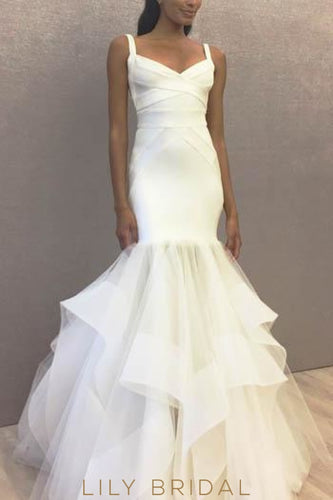 Mermaid Open Back Strap Wedding Dress With Tiered Ruffle Organza Skirt