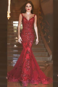 Mermaid Red Tulle Strap Backless Prom Dress with Sequin Applique
