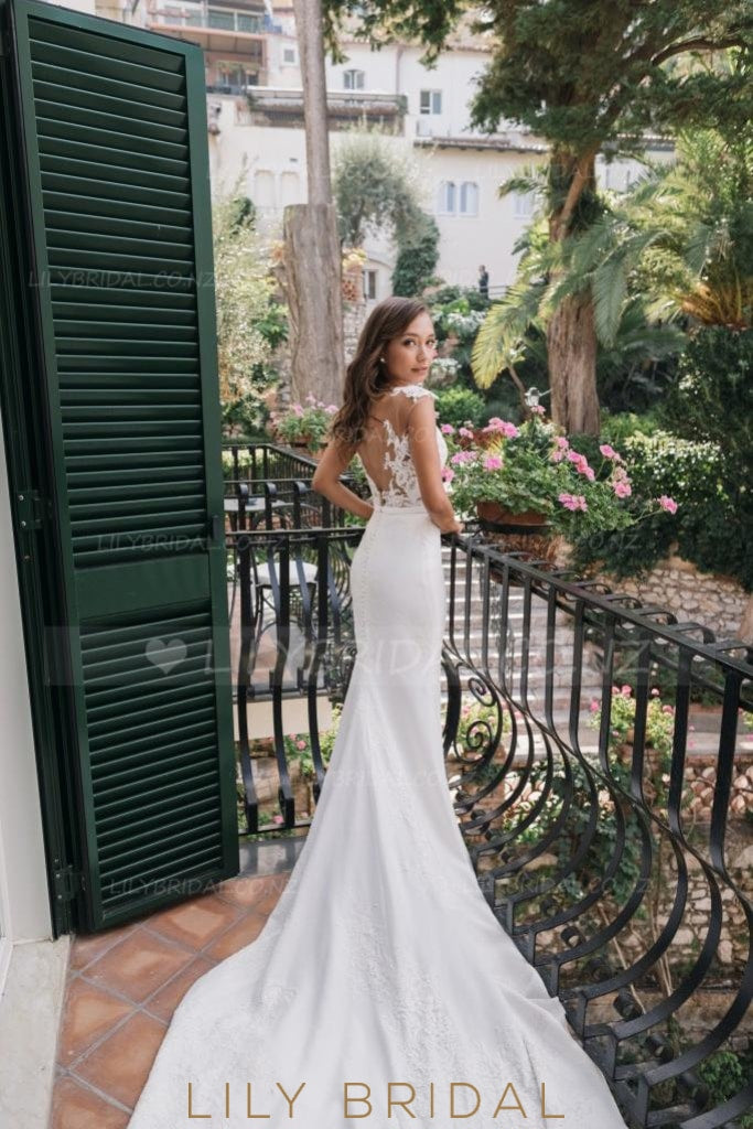 Mermaid Satin Beach Wedding Dress With Illusion Lace Bodice