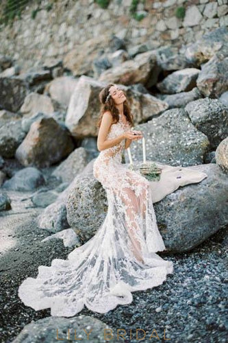 Boho Mermaid Sheer Lace Sexy Beach Wedding Dress With Court Train