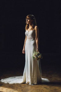 Mermaid Sheer Neck Sweetheart Court Train Lace Hemline Satin Bridal Dress With Illusion Lace Bodice