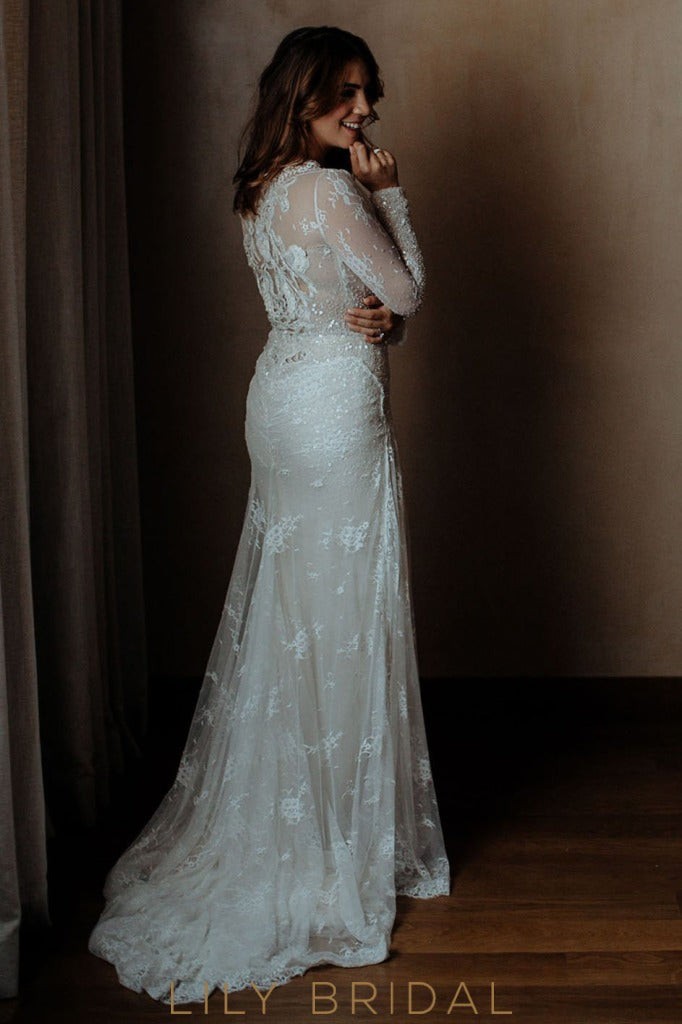 Mermaid Tulle V-Neckline Long Sleeve Wedding Dress