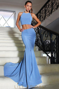 Mermaid Silhouette Sleeveless with Open Back Blue Jersey Long Prom Dress