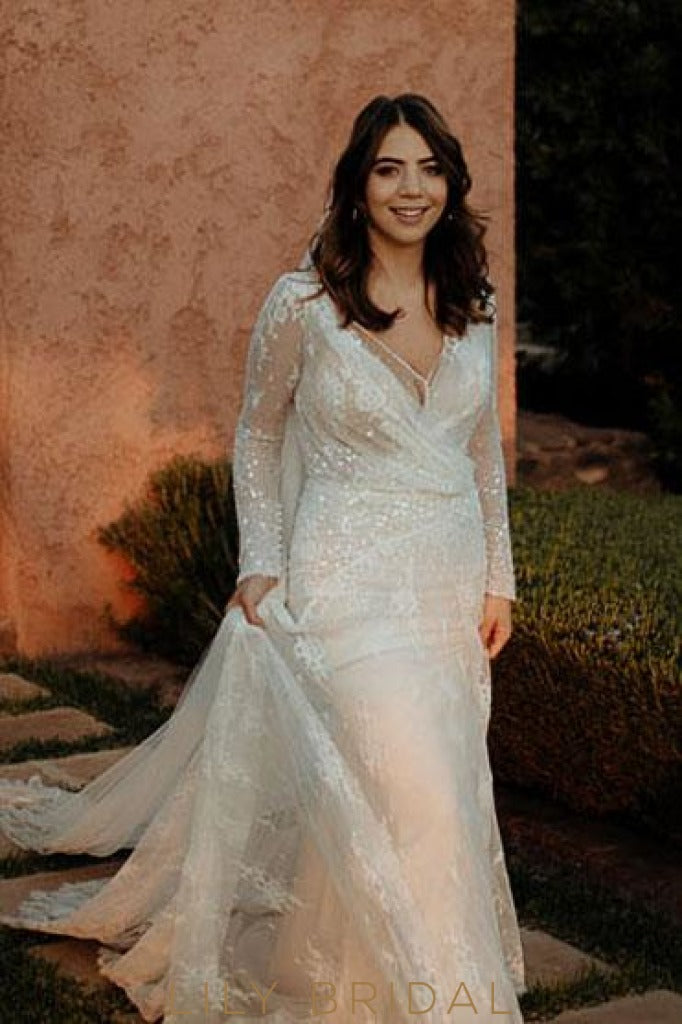 Mermaid Silhouette Lace Tulle Long Sleeve Wedding Dress