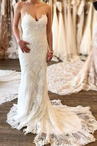 Mermaid Spaghetti Strap Lace-Up Backless Lace Bridal Dress