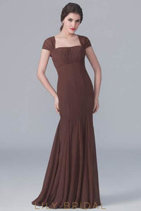 Mermaid Straight Across Neckline Cap Sleeve Sweep Train Formal Evening Dress With Keyhole Back