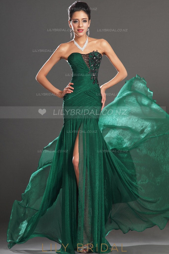 Mermaid Strapless Appliqued Organza Evening Dress With Sexy High Split
