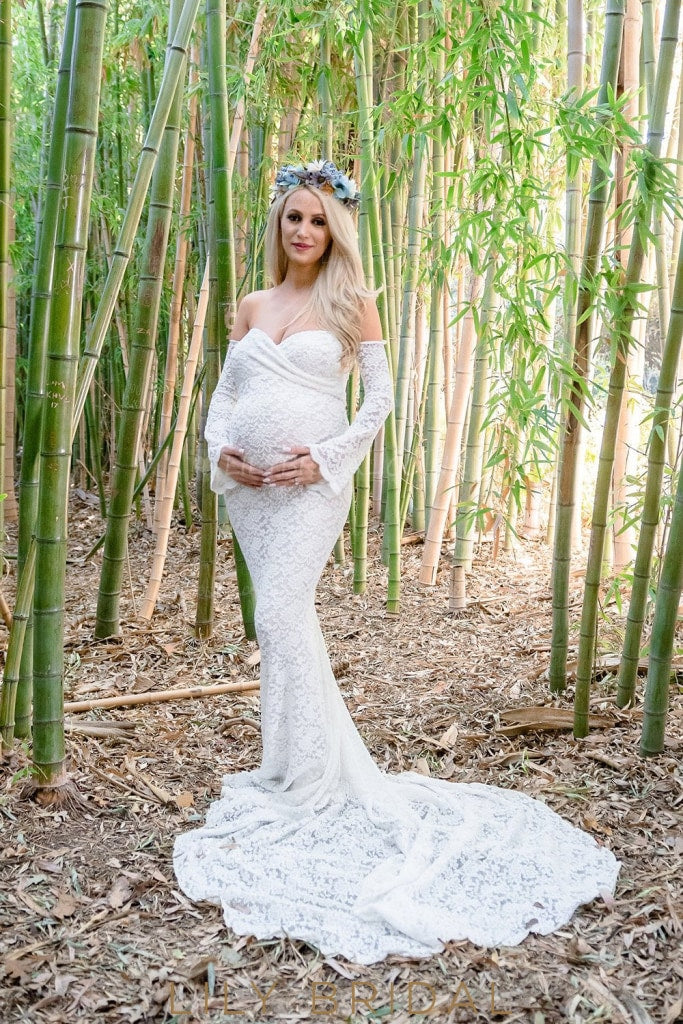 Mermaid Strapless Sweetheart Long Sleeve Court Train Lace Illusion Maternity Wedding Dress